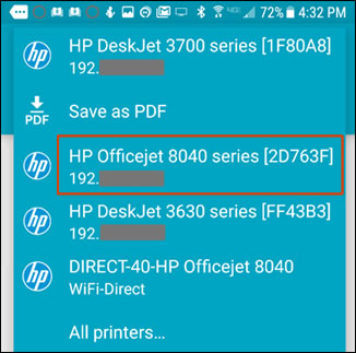 Print from Android to Hp printers