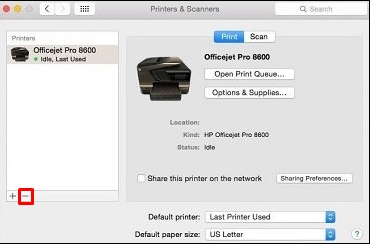 how to change printer from offline to online Mac