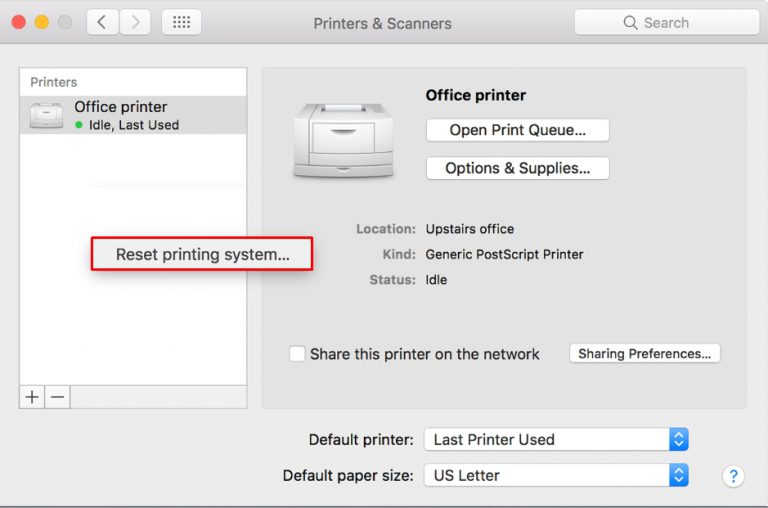 how to change the printer from offline to online on Mac