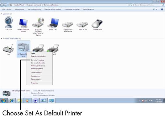 hewlett packard printers: set as default printer
